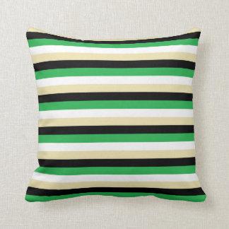 Almofada Listras verdes, brancas, bege e pretas
