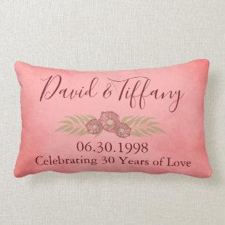 Almofada Lombar 30o O rosa do aniversário de casamento personaliza
