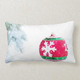 Almofada Lombar Aguarela branca da neve dos enfeites de natal