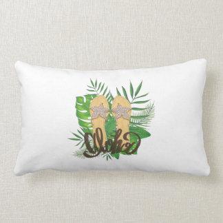 Almofada Lombar Aloha mão das folhas de palmeira da pintura da mão
