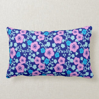 Almofada Lombar Ameixa japonesa rica do teste padrão floral azul e