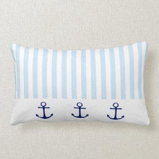 Almofada Lombar Âncora azul náutica e listra branca