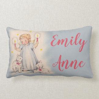 Almofada Lombar Anjo personalizado da menina do vintage que