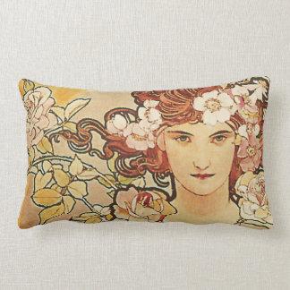 Almofada Lombar Arte cor-de-rosa Nouveau Alphonse Mucha das flores