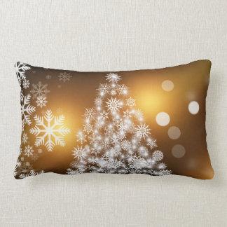 Almofada Lombar Árvore dourada do floco de neve de Bokeh do Natal