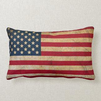 Almofada Lombar Bandeira americana EUA do vintage do Grunge