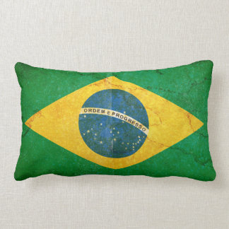 Almofada Lombar Bandeira de Brasil do Grunge do vintage
