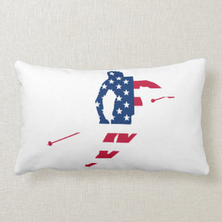 Almofada Lombar Bandeira dos EUA do americano de esqui de América