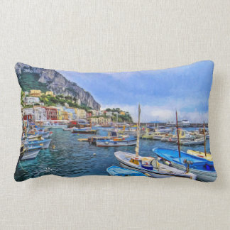 Almofada Lombar Barcos da arte italiana da foto de Capri