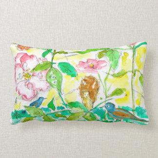 Almofada Lombar Bluebirds cor-de-rosa dos rosas da aguarela