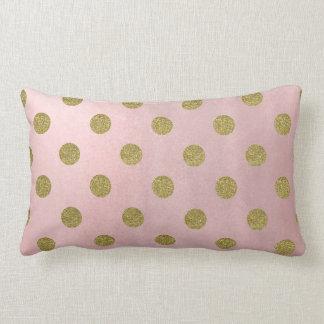 Almofada Lombar Bolinhas Glam do brilho macio do ouro do rosa