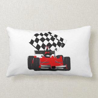 Almofada Lombar Carro de corridas vermelho com bandeira Checkered