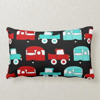 Almofada Lombar Carros vintage de acampamento retros do vermelho