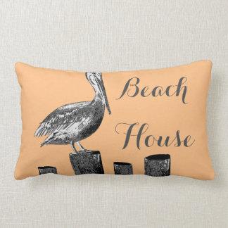 Almofada Lombar Casa de praia da ilustração do pelicano