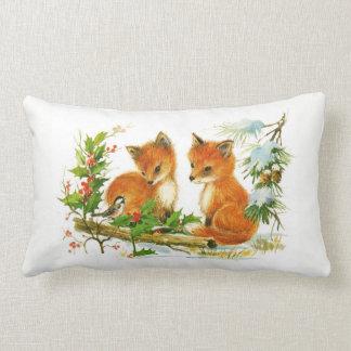 Almofada Lombar Cena da neve do Natal das raposas vermelhas e do