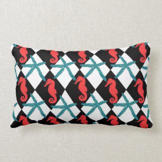Almofada Lombar Cerceta e travesseiro decorativo preto do cavalo