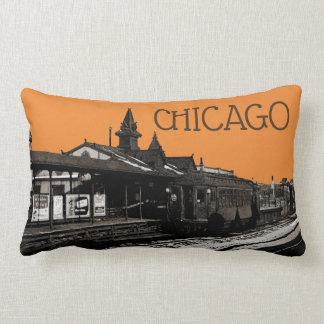 Almofada Lombar Chicago L metro 1950 da fotografia do Sepia da