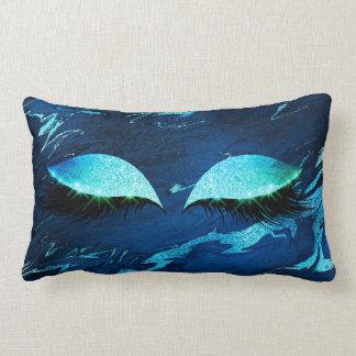 Almofada Lombar Chicotes azuis de mármore da composição do olho do