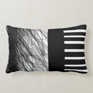 Almofada Lombar chique moderno do travesseiro preto e branco legal
