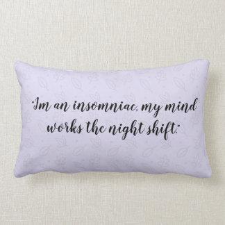 Almofada Lombar Citações do Insomniac, travesseiro roxo do teste