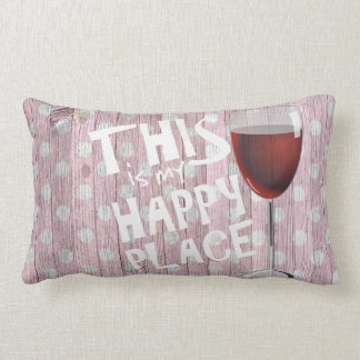 Almofada Lombar citações felizes com vidro de vinho na madeira das