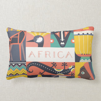 Almofada Lombar Colagem simbólica africana da arte