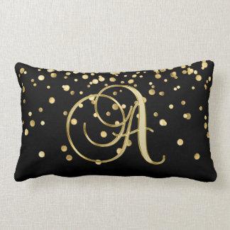 """Almofada Lombar Confetes pretos Monogrammed modernos da letra """"A"""""""