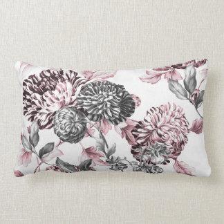 Almofada Lombar Cora Toile botânico preto & branco cor-de-rosa
