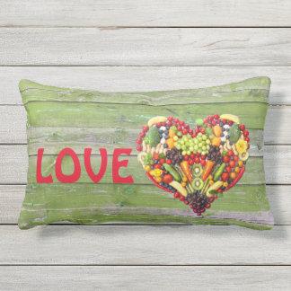 Almofada Lombar Coração vegetal da colagem da foto do amor do