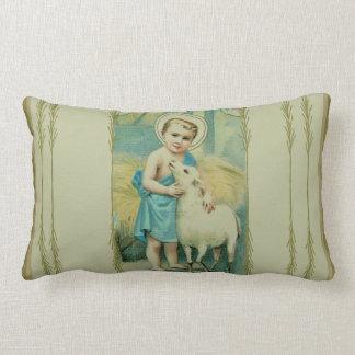 Almofada Lombar Criança Jesus do vintage com cordeiro