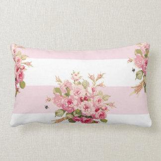 Almofada Lombar Da listra cor-de-rosa da peônia do buquê de Jane