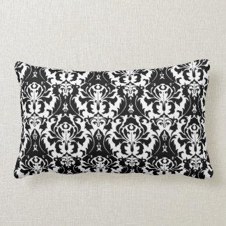 Almofada Lombar Damasco preto & branco elegante
