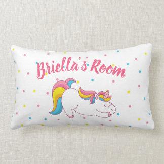 Almofada Lombar Decoração do quarto do unicórnio do sono com nome