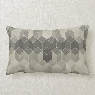 Almofada Lombar Design geométrico do cubo da escala cinzenta