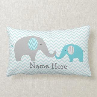 Almofada Lombar Elefante bonito cerceta personalizada & cinza do