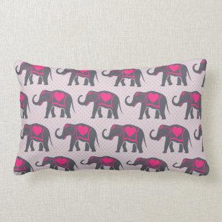 Almofada Lombar Elefantes cor-de-rosa quentes cinzentos bonito em
