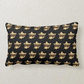 Almofada Lombar Elegante festivo do ouro do preto do teste padrão