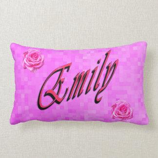 Almofada Lombar Emily, nome, logotipo, no mosaico cor-de-rosa