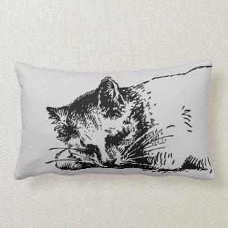 Almofada Lombar Esboço cinzento do gato do sono - tinta corajosa