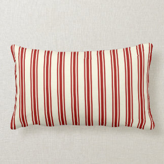 Almofada Lombar Escuro - o tiquetaque vermelho & de creme listra o