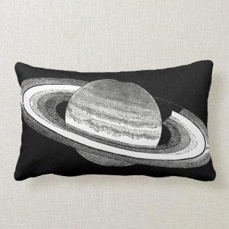 Almofada Lombar Espaço monocromático inspirado retro de Saturn do