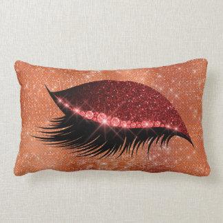 Almofada Lombar Esquerda vermelha de Borgonha do brilho Glam da