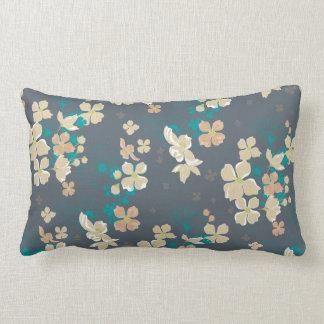 Almofada Lombar Floral - bege e cerceta