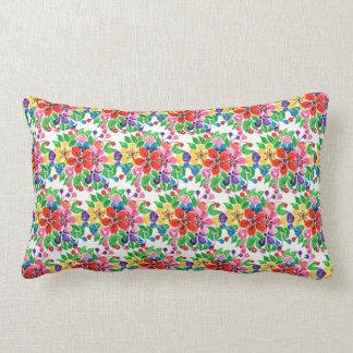Almofada Lombar Flores do arco-íris da aguarela