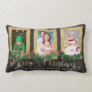 Almofada Lombar Foto do Feliz Natal do ouro