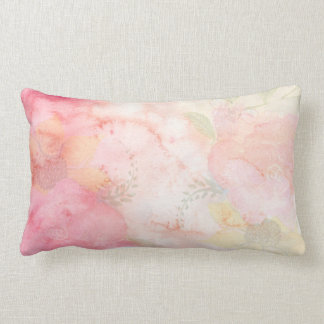 Almofada Lombar Fundo floral cor-de-rosa da aguarela