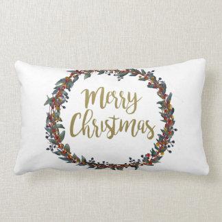 Almofada Lombar Grinalda da aguarela - Feliz Natal - ramos