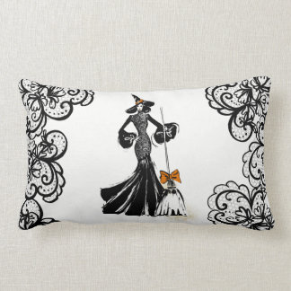 Almofada Lombar ilustração da forma do Dia das Bruxas com laço