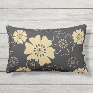 Almofada Lombar Japão. Flores florais amarelas reversíveis