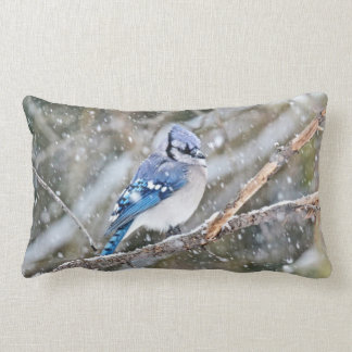 Almofada Lombar Jay azul na tempestade de neve